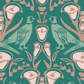 Damask pheasants in teal and mint
