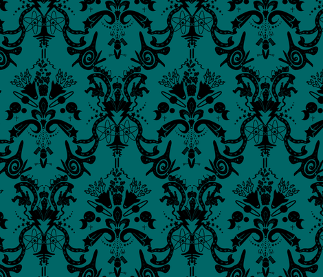 Cosmic Damask Space Dark Turquoise fabric by studiozandra on Spoonflower - custom fabric
