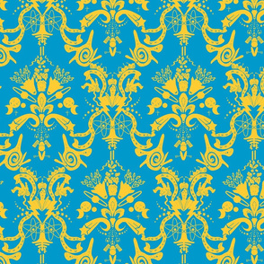 Cosmic Space Damask Curry On Blue