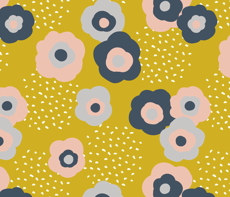 Polly's Garden Golden fabric by amandacallcott on Spoonflower - custom fabric