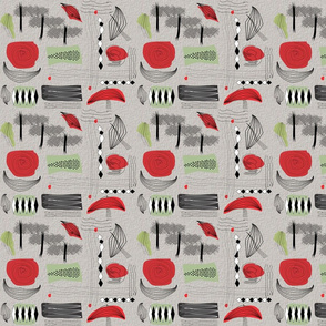 Mid-Century Black and Red
