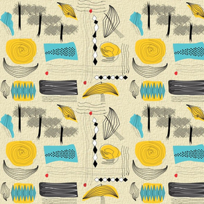Mid-Century Abstract Teal Yellow
