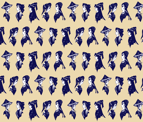chinese minority lady heads blue_on_tan fabric by dw77 on Spoonflower - custom fabric