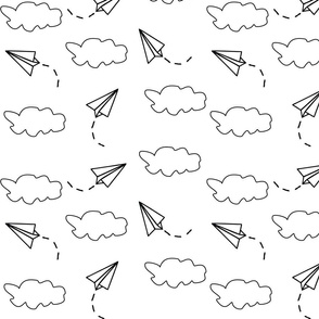 flying paper airplanes in the clouds