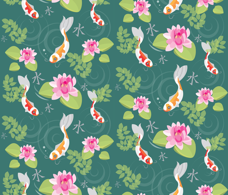 japanese koi garden fabric by jammy_fox on spoonflower custom fabric