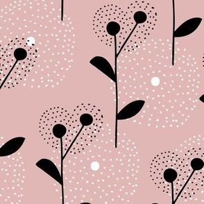 Soft scandinavian style dandelion bossom spring fabric beige