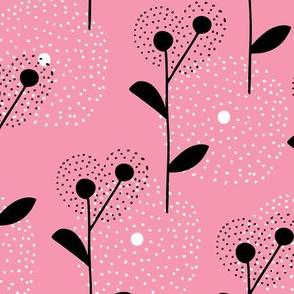 Soft scandinavian style dandelion bossom spring fabric pink