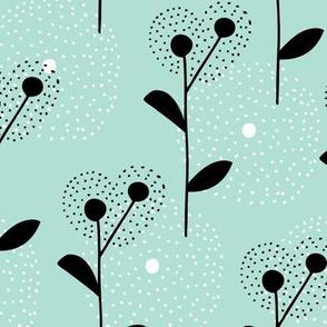 Soft scandinavian style dandelion bossom spring fabric mint