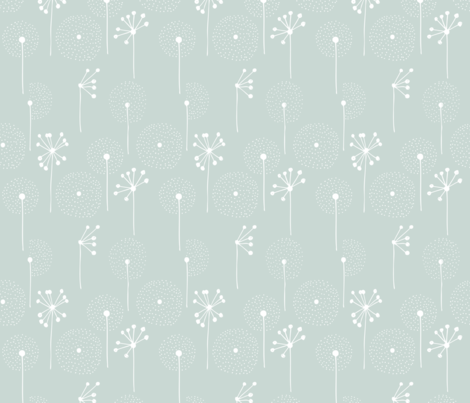 Scandinavian dandelion flower blossom garden summer fall mint fabric by littlesmilemakers on Spoonflower - custom fabric