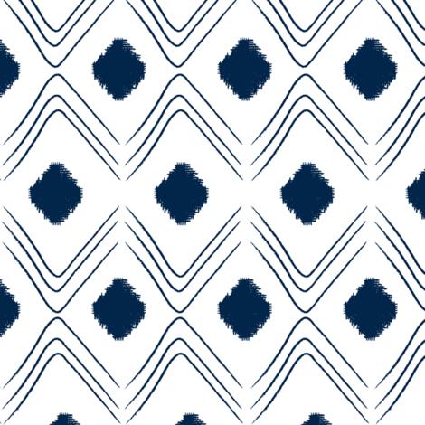 Diamond- Indigo and white fabric by fat_bird_designs on Spoonflower - custom fabric