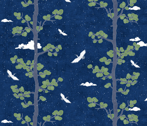 Night Sky with Pines & Cranes fabric by forest&sea on Spoonflower - custom fabric