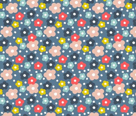 Dancing Daisies Storm Blue fabric by amandacallcott on Spoonflower - custom fabric