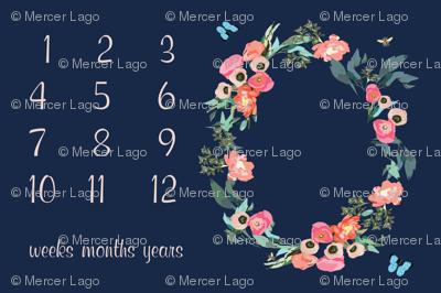 "54"" X 36"" - baby milestone blanket floral wreath baby blanket photo prop flowers navy pink green butterflies"