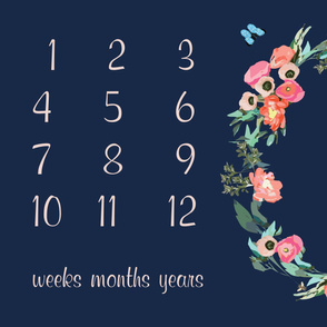 "54"" X 36"" - baby milestone blanket floral wreath baby blanket photo prop flowers navy pink green butterflies"