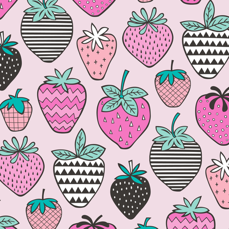 Strawberries Strawberry Geometric in Pink fabric by caja_design on Spoonflower - custom fabric