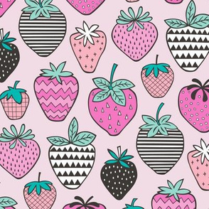 Strawberries Strawberry Geometric in Pink
