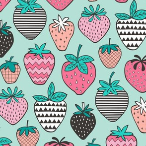 Strawberries Strawberry Geometric on Mint Green