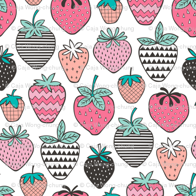 Strawberries Strawberry Geometric on  White