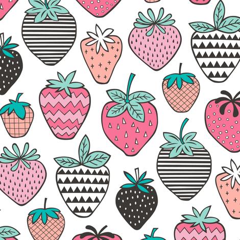 Strawberries Strawberry Geometric on  White fabric by caja_design on Spoonflower - custom fabric