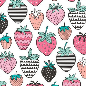 Strawberries Strawberry Geometric on  White