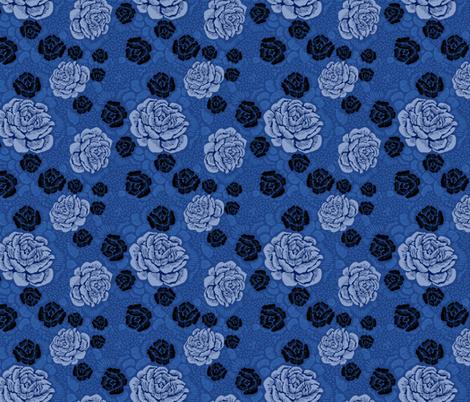 Rose Remix - blue/denim/black fabric by cinneworthington on Spoonflower - custom fabric