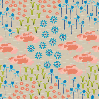 16-06X Folk Meadow Tan Peach Blue Olive Green_Miss Chiff Designs