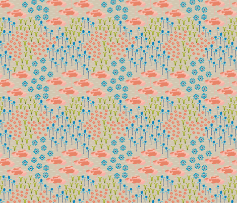 16-06X Folk Meadow Tan Peach Blue Olive Green_Miss Chiff Designs fabric by misschiffdesigns on Spoonflower - custom fabric