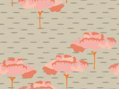 16-06W Retro Flower Folk Peach Trees Tan Taupe  Birch Coral Scandinavian Large_Miss Chiff Designs