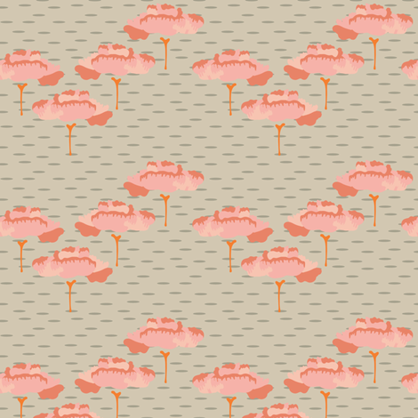 16-06W Retro Flower Folk Peach Trees Tan Taupe  Birch Coral Scandinavian Large_Miss Chiff Designs fabric by misschiffdesigns on Spoonflower - custom fabric