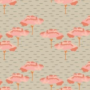 Folk Peach Trees Tan Taupe  Birch Coral Scandinavian Large_Miss Chiff Designs