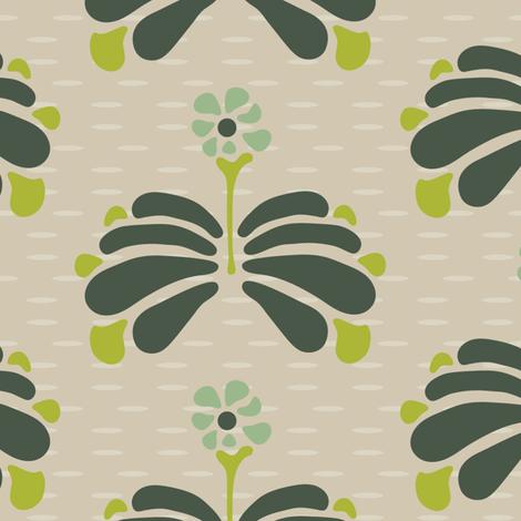 16-06U Large Retro Folk Floral Birch Bark  || Forest green mint lime Brown Khaki Tan  LG_Miss Chiff Designs fabric by misschiffdesigns on Spoonflower - custom fabric
