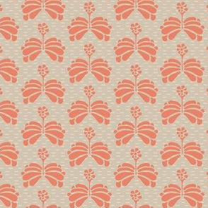 Peach Tan Folk Flowers_Miss Chiff Designs