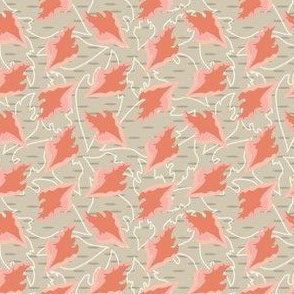 Peach Leaves on tan_Miss Chiff Designs