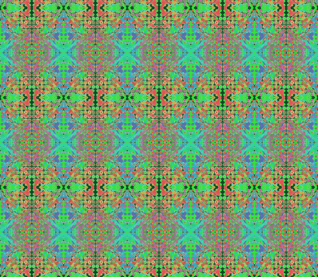 Cool Splashes Over a Hot Grid on Dark Forest Green fabric by rhondadesigns on Spoonflower - custom fabric