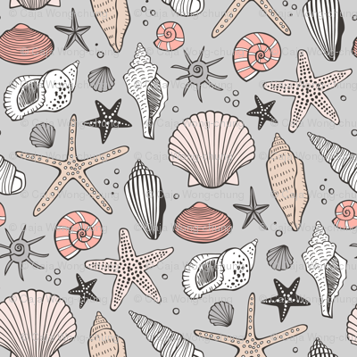 Seashells Nautical Ocean Shells  Peach on Grey