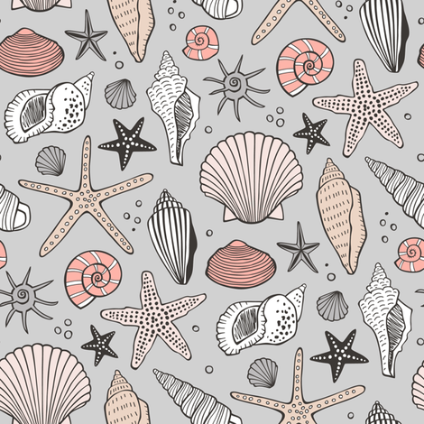 Seashells Nautical Ocean Shells  Peach on Grey fabric by caja_design on Spoonflower - custom fabric