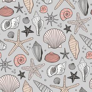 Seashells Nautical Ocean Shells  Peach on Grey