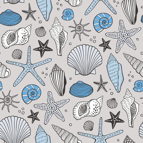 Seashells Nautical Ocean Shells Blue on Grey fabric by caja_design on Spoonflower - custom fabric