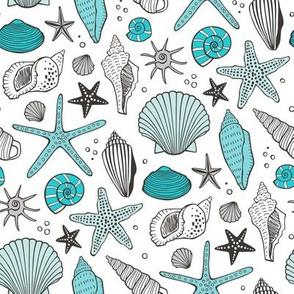 Seashells Nautical Ocean Shells Aqua Blue