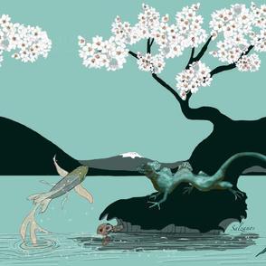 Large Print Water Dragon with KOI by Salzanos