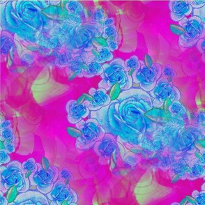 blue pink spring floral blossom garden watercolor