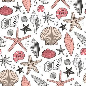 Seashells Nautical Ocean Shells  Peach Pink