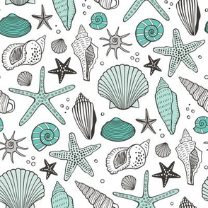 Seashells Nautical Ocean Shells  Mint Green