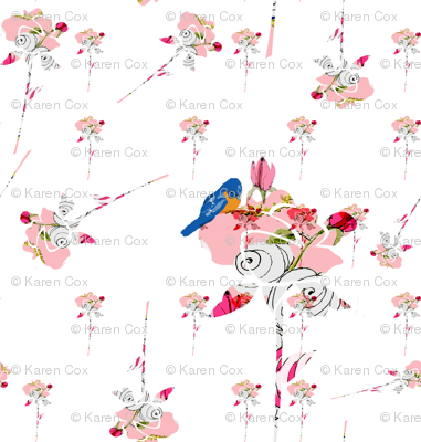 Baby pink roses and bluebirds