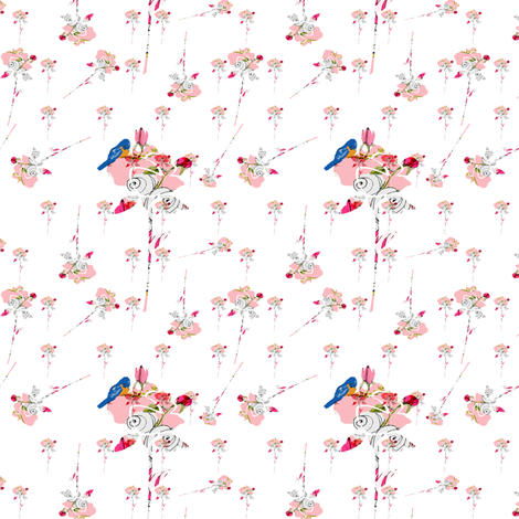 Baby pink roses and bluebirds fabric by karenharveycox on Spoonflower - custom fabric