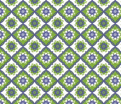 South Carolina Medallion  Green and Blue fabric by rickrackscissorsstudio on Spoonflower - custom fabric