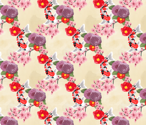 Flowers and Koi fabric by geekygamergirl on Spoonflower - custom fabric