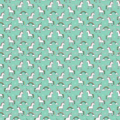 Cute Unicorn Rainbow in Mint Tiny 0,75 inch