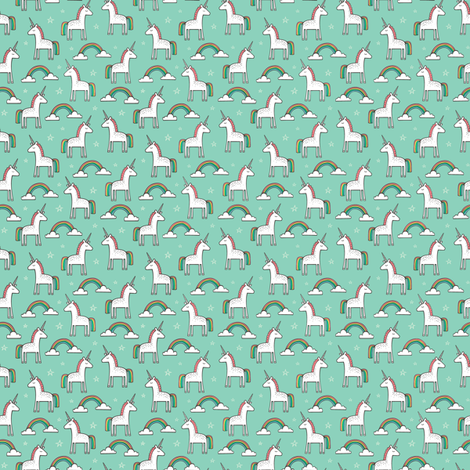 Cute Unicorn Rainbow in Mint Tiny 0,75 inch fabric by caja_design on Spoonflower - custom fabric
