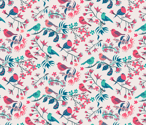 Birds and Blossom Original fabric by jill_o_connor on Spoonflower - custom fabric